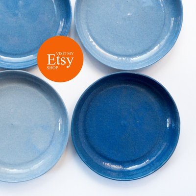 set of 4 blue plates