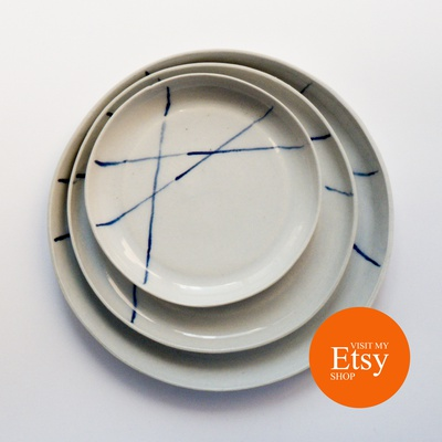 set of 3 grey plates